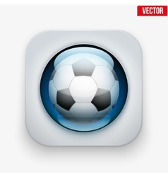 Sports button with ball under glass for website or vector