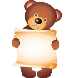 Bear with blank vector vector