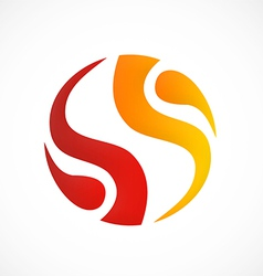 Circle fire swirl abstract logo vector