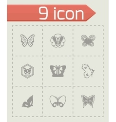 Butterfly icon set vector