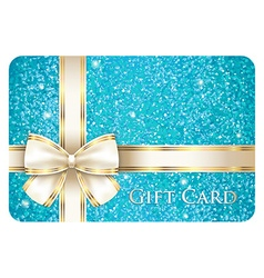 Turquoise shiny gift card composed from glitters vector