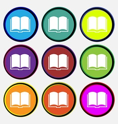 Book icon sign nine multi colored round buttons vector