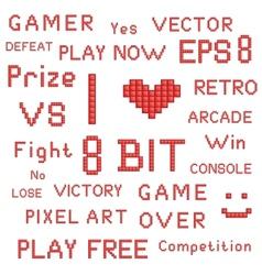 Red pixel art slogans vector