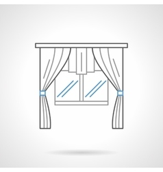 Window textile decor flat line icon vector