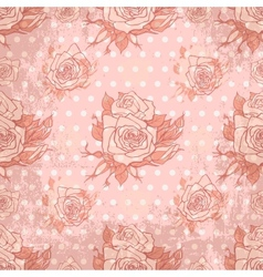 Vintage wallpaper with seamless rose pattern vector