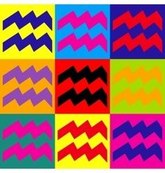 Aquarius sign Pop-art style icons set vector image