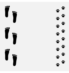Bare foot print and paw print black frame vector image