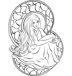 Beautiful sitting girl stained glass vector image