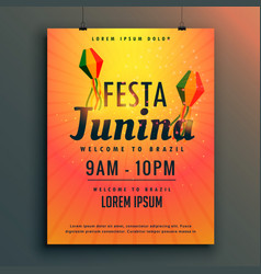 Brazilian festival of festa junina poster design vector