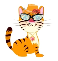 Cartoon fashionable tigress vector image vector image