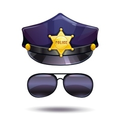 Cartoon police cap and cops sunglasses vector