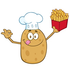 Chef Potato Cartoon with Fries vector image