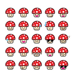 Collection of difference emoticon icon of mushroom vector image