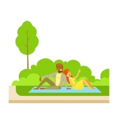 Couple having picnic on grass part of people in vector