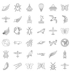 different transport icons set outline style vector image vector image