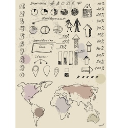 Doodles infographics set vector image