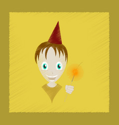 flat shading style icon child sparkler vector image vector image