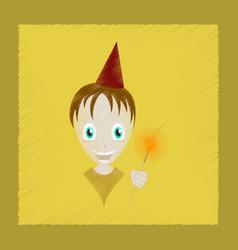 Flat shading style icon child sparkler vector
