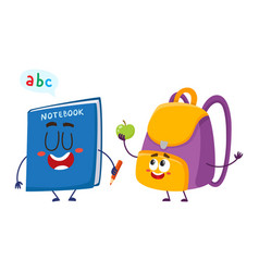 Funny smiling backpack and notebook characters vector