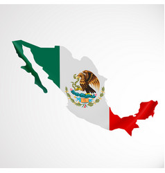 hanging mexico flag in form of map united mexican vector image