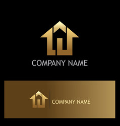 Home agent realty gold logo vector