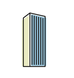 isolated blue color skyscraper in lineart style vector image vector image