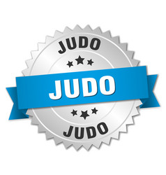 Judo round isolated silver badge vector