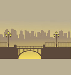 Landscape of bridge with town background vector