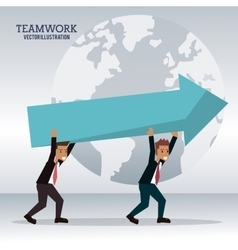 Men business carrying arrow team work vector
