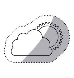monochrome contour sticker of cloud with sun vector image vector image