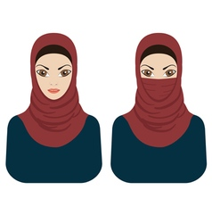 Muslim women in hijab and paranja vector