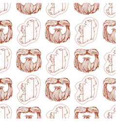 Seamless pattern with a beard and a contour map vector