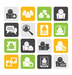 Silhouette Social Media and Network icons vector image