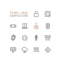 Smart house - thin single line icons set vector