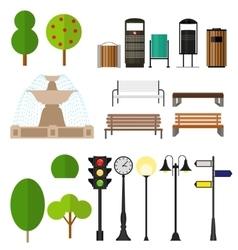 Street City Flat Design Elements vector image vector image
