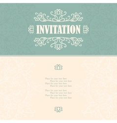 Vintage invitation card with lace ornament vector image vector image