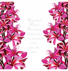 Watercolor pink tropical flowers card vector