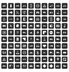 100 location icons set black vector