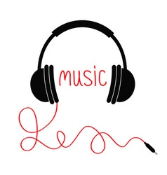Headphones with red cord and word music card flat vector