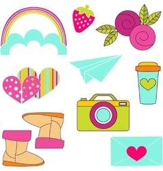 Icons of glamor stickers and labeles vector