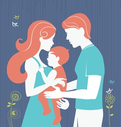 Silhouette of parents with baby girl vector