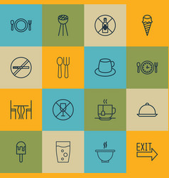 Set of 16 food icons includes coffee cup lolly vector
