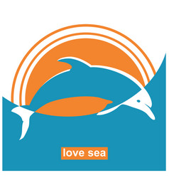 Dolphin jumping in sea sign concept vector