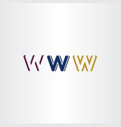 W letter set logo icon design elements vector