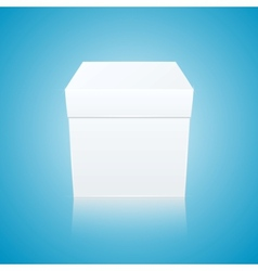 White gift box on blue background front view vector