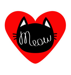 Black cat head silhouette shape meow lettering vector