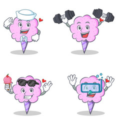Cotton candy character set with sailor fitness ice vector