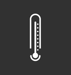 White icon on black background weather thermometer vector