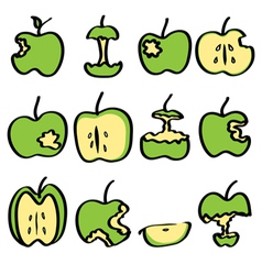 Green bitten apple vector