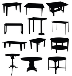 Tables for home in black color silhouette vector